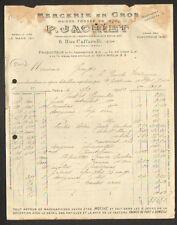 """PARIS (III°) COMMERCE de MERCERIE en gros """"P. JACHIET"""" en 1922"""