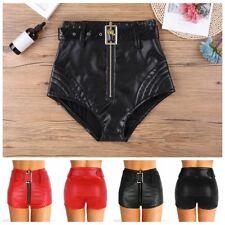 Women PU Leather High Waisted Front Zipper Short Pants Clubwear Dance Boy Shorts
