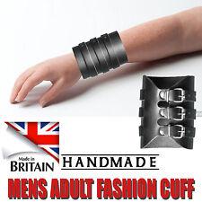 Mens Black Genuine 100% Soft Real Leather Force Strap Bracelet Made In England