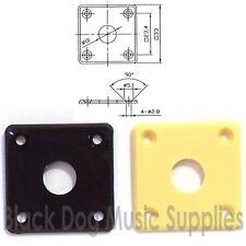 Plastic square guitar jack plate in cream or black for Les Paul inc screws