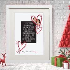 Navidad Personalizado Foto Impresión socio esposo esposa poema mensaje Corazones Amor