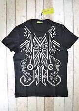 Bnwt Versace Jeans schwarz silber Totem Eule Nieten Print T-Shirt Maglietta Camisetta