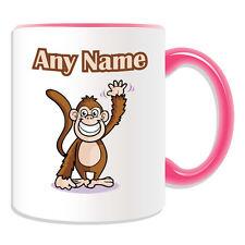 Personalised Gift Waving Monkey Mug Money Box Cup Animal Design Cute Tea Name
