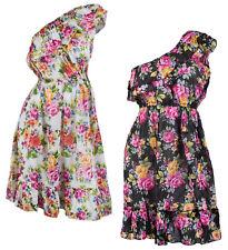 WOMENS BEACHWEAR COVER UP ONE SHOULDER CHIFFON DRESS FLORAL LADIES SIZE SM - LG