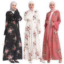 Muslim Women Dubai Open Cardigan Abaya Kaftan Flower Long Maxi Dress Robe Party