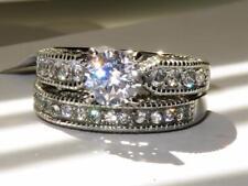 wedding band silver 2pcs new 1318 Engagement ring set ladies cz cubic zirconia