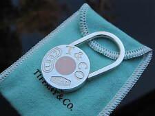 Tiffany & Co Silver RARE1837 Pink Enamel Padlock Keychain Key Chain Key Ring!