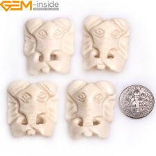 Handmade Carved Bone Animal Elephant Head Beads Jewelry Making Bulk 2/4pcs DIY