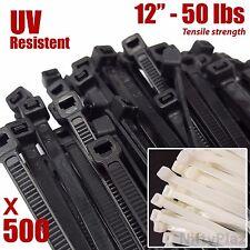 12 Inch Cable Ties - UV Weather Resistant - 50 LBS Nylon Wrap Zip Ties 500 Pack