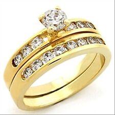 LOT DUO anneau alliance+bague plaquée or ornées d'oxydes de zirconium