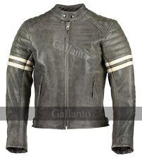 Vintage fight club moto biker vestes en cuir avec rayures blanches