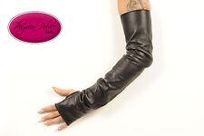 Black Fingerless Lambskin Leather Opera Length Gloves - 23 inches long