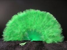 "MARABOU FEATHER FAN - LIME Feathers 12"" x 20"" Sexy/Fan/Burlesque/Halloween/Dance"
