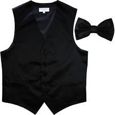 New Men's Formal Vest Tuxedo Waistcoat_Bowtie solid black wedding prom party