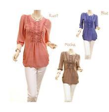 Women Retro Victorian Faux Silk Ruffle 3/4 Sleeve Tunic Blouse Shirt Top S M L