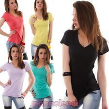 Maglietta donna t-shirt maglia scollo V cotone elasticizzata aderente nuovo 5951