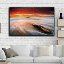 Framed Canvas prints time-lapse Beach rot wood sunset sunrise modern wall art