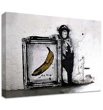 BANKSY Warhol Monkey Banana Lona | Gran Pared Art | Amarillo Silueta Negra