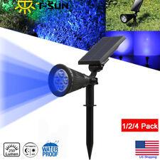 Solar Power Outdoor LED Spot Light Wall Lawn Yard Street Garden Lamp Blue US
