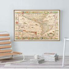 Vintage Navigation Sea Monster World Map Silk Canvas Poster Paint Unframed 81