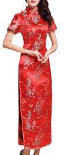 UK Stock Red Dragon & Phoenix Chinese Long Evening Party Dress Qipao Cheongsam