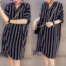 Plus Size Women Short Sleeve T Shirt Lady Stripe Dress Button Mini Short Dress