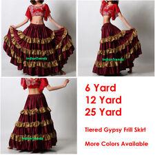 Maroon / Golden Satin 6/12/25 Yard Tiered Gypsy Frill Skirt Belly Dance Flamenco