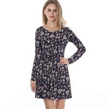 Autumn Spring Women Retro Tunic Long Sleeved Print Floral Dresses