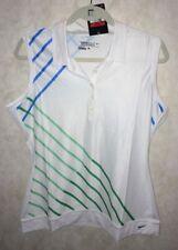 NIKE GOLF Bold Graphic White Green Blue DRI FIT S/L Polo Shirt NEW Womens M L XL