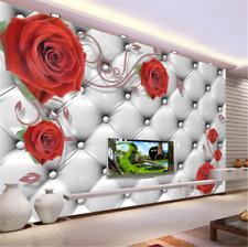 3D Red Rose Squares 829 Wallpaper Mural Paper Wall Print Wallpaper Murals UK