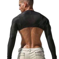 Men's Long Sleeve Faux Leather Jacket Arm Shrug Half Costume Motorcycle Costumes