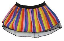Ladies Rainbow Striped Pleated Tutu Skirt Multicoloured Wonka Fancy Dress LGBT