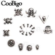 Pewter Skull Rivet Studs Spikes Punk Rock Leather Craft Bracelet Apparel Parts