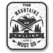 2 x The Mountains Are Calling Vinyl Sticker Ski Snowboard Climbing Gift #6398/SV