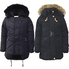 Ragazze Bambini cappotto invernale trapuntato fodera in pelliccia cappuccio stacca Giacca Imbottita Zip 5-13 Y