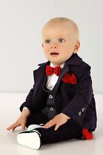 Abito da battesimo maschietto blu scuro con bretelle vestito da cerimonia 1964