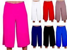 3/4 Wide Leg Plain Culottes New Ladies Length Shorts Palazzo Trousers Pants 8-26