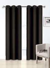 1 SET BLACK FOAM LINED HEAVY THICK BLACKOUT GROMMET WINDOW CURTAIN PANELS KK92