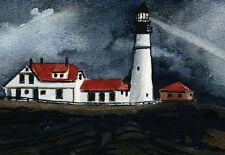 Portland Head Light at Night. Maine Coast Lighthouse. Watercolor Notecards