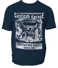 CUSTOM GARAGE t shirt MOTORCYCLE ENGINE SERVICE AND REPAIRS mens t-shirt tee
