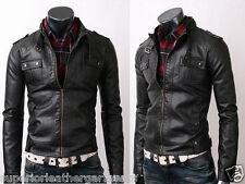 Mens Strap Collar Flap Pocket Slim Fit Real Sheep Skin Black Leather Jacket BNWT
