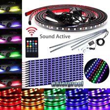 6Pcs 8 Color LED Strip Under Car Tube underglow Underbody System Neon Lights Kit