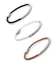 """Sparkling Crystal Tubes on PU Leather Bracelet Magnetic Fastener 8"""" Wrist UK"""