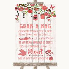 Corail Rustique Bois Attrape un sac Candy Buffet Panier Bonbons Personnalisé Mariage Signe