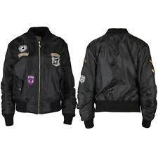 Womens Ladies Front Zip Baseball Collar Side Pocket Badges Bomber Jacket Coat
