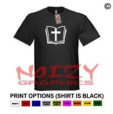 Bible Cross Christian Shirt Black T-Shirt Jesus Religious Faith Scripture Verse