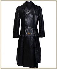'MORPHEUS' Black Men's Lambskin Leather Full-Length Overcoat Movie Trench Coat