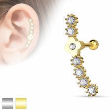 langer Tragus Ohr Piercing Stecker Helix Cartilage Barbell Blumen Flower Autiga®