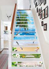 3D Delphin Strand 6 Stair Risers Dekoration Fototapete Vinyl Aufkleber Tapete DE