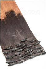 100% Echthaar Remy Ombre Extensions Echthaar Strähnen 50cm 100g 2-Teilig #1b/27